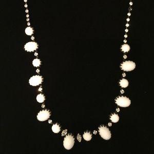 Vintage Black & White Rhinestone Necklace